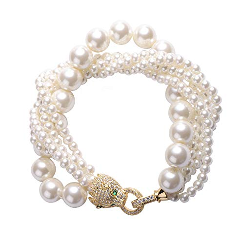 TJC Beaded Bracelet for Womens Size 8 Inches Birthday for Her Glass Pearl, Simulated White Cubic Zirconia and Simulated Green Cubic Zirconia