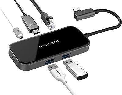 ARCANITE Premium USB-C Hub, 100 W Output, 4Kx2K HDMI, Gigabit Ethernet, 2 USB 3.0 Type-A Ports, Aluminium and Glass Exterior, LUCN3288