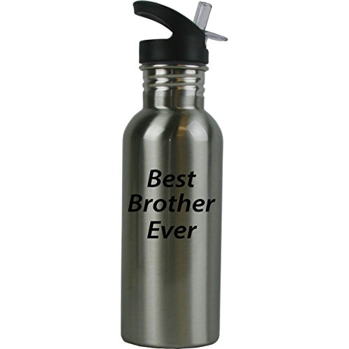 Personalized Custom Best Brother Ever Stainless Steel Water Bottle with Straw Top 20 Ounce Sport Water Bottle Customizable