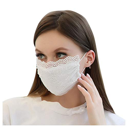 jfhrfged Protección de Mujeres Adultas Encaje Reutilizable Protección Transpirable Segura con Cuerda Elástica (Blanco)