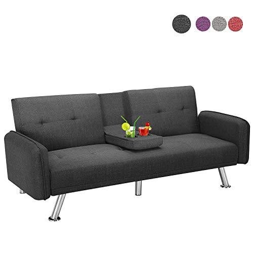 Futon Sofa Bed Twin Size Sleeper, Baysitone Convertible Lounge Couch with Armrest / 2 Cup Holders/Linen Fabric/Metal Legs (Dark Grey)