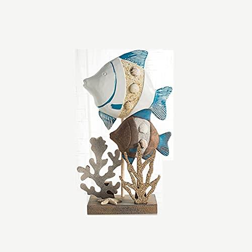 jbshop Productos de decoración Estilo mediterráneo Pintado Pescado artesanía de Madera, gabinete de Vino decoración del hogar Adorno de Regalo Creativo Ornamento de Escritorio