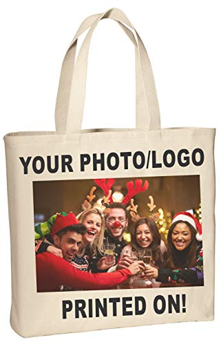 Design Your Own Tote Bag, Fabric Tote Bag with Your Photo or Logos - B150.NAT_C (Natural)