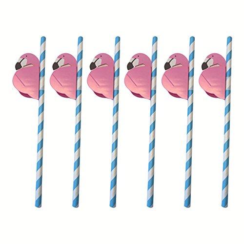 Ndier Pajita Flamingo, Paja de Papel de Beber Flamingo ecológica para decoración de Bebidas 25pcs