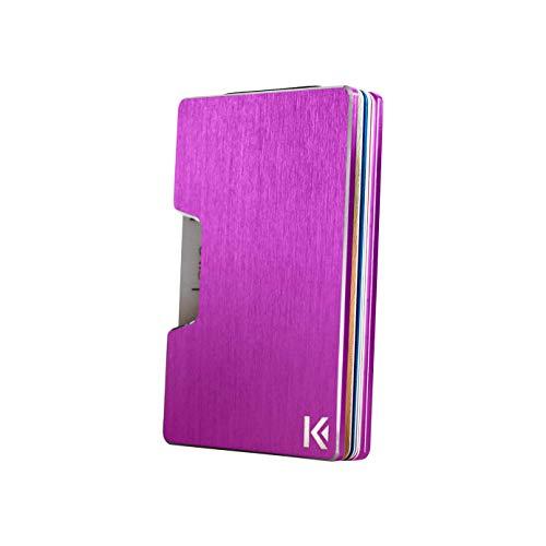 KARCAJ Classic - Cartera Tarjetero Minimalista con Protección Antirrobo RFID y NFC. Tarjetero Metálico para Tarjetas de Crédito y Billetes para Hombre y Mujer (Purple Edition)