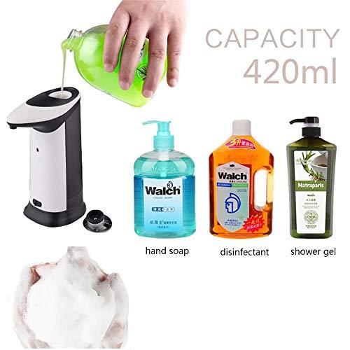 Dispensador de jabón Dispensador de jabón 420ml automático dispensador de jabón Inducción IR Sentir el Propio Cuerpo del envase con iluminación LED de Música Dispensador de jabón espumoso