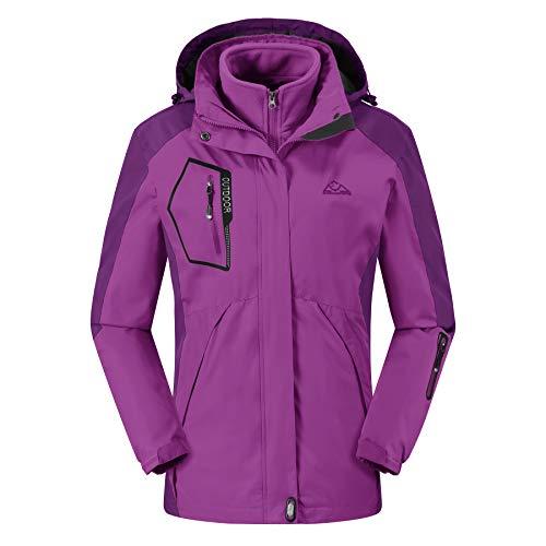 TBMPOY Damen Outdoorbergwasserdichte Ski Jacke Vlies Windundurchlässiger Regen Jacke M 01 Lila