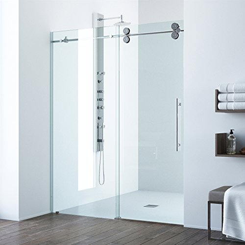 Product Image of the VIGO VG6041CHCL6074 3.0' -60.0' W -74.0' H Frameless Sliding Rectangle Shower Door with Clear 0.38' Tempered Glass and Stainless Steel Hardware in Chrome Finish with Reversible Handle
