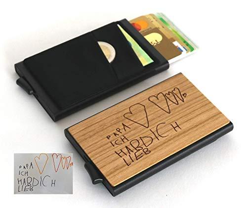 Kreditkartenetui aus Holz | Geldbörse | Popup | Portemonaie personalisiert | RFID NFC Schutz | Geschenk mit Gravur | Männer Frauen Papa Mama