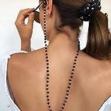 iyou - catena per occhiali da sole boho con perline in cristallo nero, catena per occhiali da vista, catena per occhiali da spiaggia, accessorio per donne e ragazze