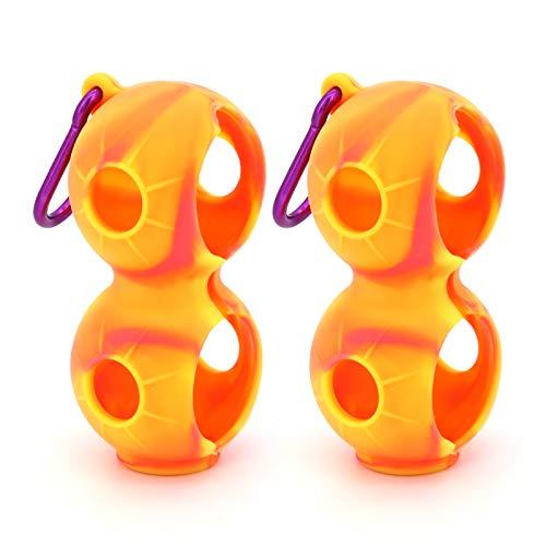 ShawFly Soporte para pelotas de golf de silicona, portátil, con clip, funda protectora de silicona, fácil de fijar a la bolsa de cinturón (2 unidades), color amarillo oscuro sin bolas.