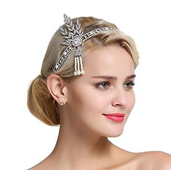 FAIRY COUPLE Art Deco 1920s Flapper Great Gatsby Leaf Bridal Tiara Pearl Headpiece Headband Silver