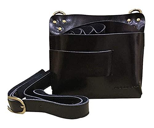 LZLM Bolsa de Corte de Corte de Pelo Ajustable Bolsa de peluquería Peluquería Tijera Bolsa PU Cintura de Cuero Cinturón de Hombro Puede Mantener Tijeras