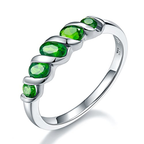 Hutang Jewelry - Sterling-Silber 925 Oval/Round Green Chromdiopsid
