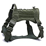 Tactical Dog Harness with Handle No Pull Dog Harness for Large Dog Adjustable Military K9 Training Walking Service Dog Harness Medium Sized Dog Easy Control Soft Padded Dog Harness Vest(Green-m)
