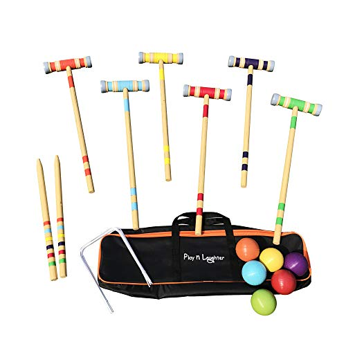 Play N Laughter 6 Player Croquet Set with Carrying Bag - 26""