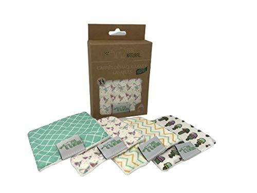 Carrés/Disques démaquillants lavable, réutilisable, ultra-doux Ecologique, face 3D, motifs tendance - 100% cotton - FELL NATURAL