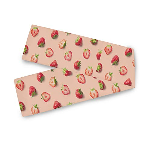 TropicalLife F17 - Camino de mesa rectangular con estampado de frutas y fresas, 33 x 178 cm, poliéster, decoración para bodas, cocina, fiestas, banquetes, comedores, mesas de centro