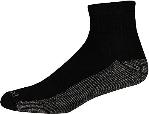 Dickies Genuine Mens 5-Pair Quarter / Ankle Style Work Socks - Black with Grey 6-12