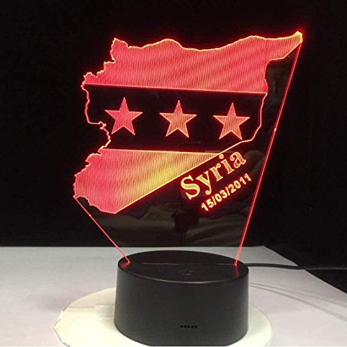 3D LED Illusion lamp Syria Map Flag 7 Colors Changing USB Bedroom Decor Shape Table Night Lights Bedside Sleep Light Fixture Gifts lamp