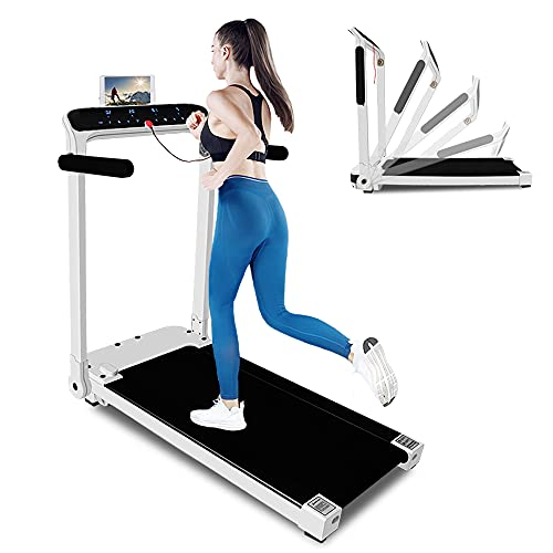 Folding Treadmill, Electric Motorized Workout Running Machine with LED Touch Display, Adjustable Armrest, Safe Key and Tablet/Phone Holder for Home Gym Office Space Saver, Installation-Free (White)