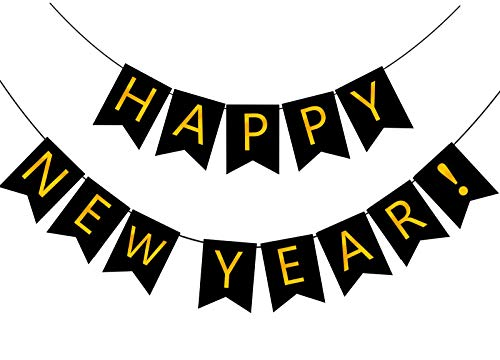 FECEDY Happy New Year Banner Black Bunting with Gold Alphabet for New Year Party Supplier Eve Party Decorations