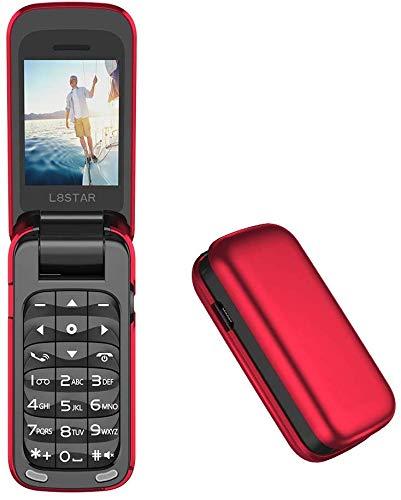 L8star Pequeño Mini Flip Teléfono Celular SIM+TF Tarjeta MP3 Magic Voice Changer Bluetooth Marcador Música Teléfono Móvil BM60 (Rojo)