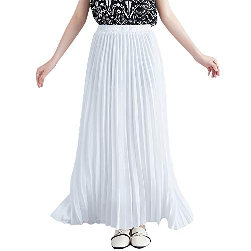 Flygo Women's Casual Pull-On Accordion Pleated A-Line Swing Long Maxi Skirts (Length - 90cm, White)