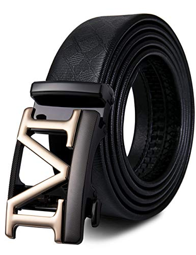 Mens Sliding Ratchet Belt of Black Genuine Leather Strap Adjustable Automatic Buckle Luxury Gift for Men, Amazing Belt, Adjustable from 42? to 45? Waist Size