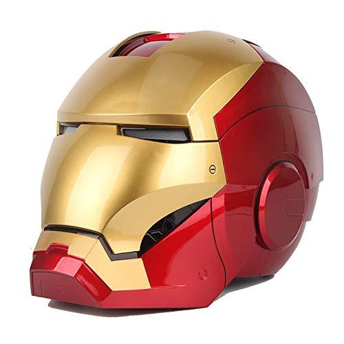 MODRYER Avengers Iron Man Helmet Unisex 1: 1 Ratio Height Lifelike Wearable Full Face Masks Carnival Halloween Voice Control Cosplay Abs Prop,Less than 62cm