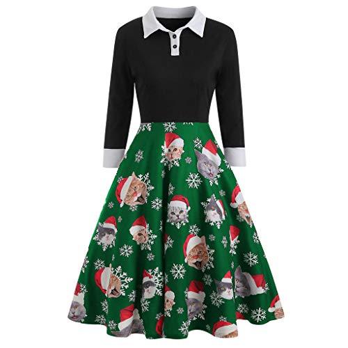 CLOOM Navidad Vestidos Retro Vintage Mujer Sexy Pin Up Vestido Negro Manga Larga Casual Copo De Nieve Gato Impresión Falda Plisada para OtoñO E Invierno Navideño Fiesta