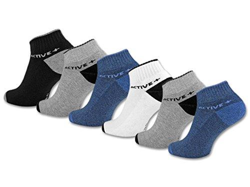 sockenkauf24 6 oder 12 Paar SPORT Sneaker Socken mit verstärkter Frotteesohle Herrensocken Sportsocken - 16210 (43-46, 6 Paar | Farbmix)