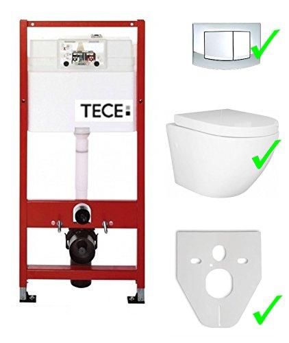 Tece Vorwandelement Base inkl. Drückerplatte chrom + Lavita Wand WC Sofi ohne Spülrand + WC-Sitz mit Soft-Close-Absenkautomatik