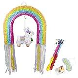 Eseewin Piñata con palo de plástico y máscara de ojos Decoraciones para fiestas Mezcla de accesorios de papel de color Dulces Favores Ideas de decoración para fiestas (Rainbow)