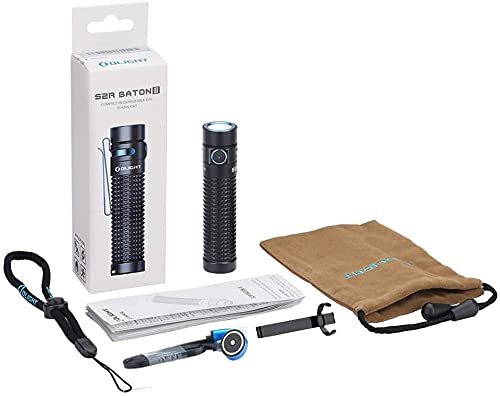 Olight S2R Baton II Rechargeable LED Torch, Max 1150 Lumens IPX8 Waterproof Pocket Handheld Flashlight for Daily Use, Camping, Hiking, Dog Walking, Biking and Other Outdoor Activities