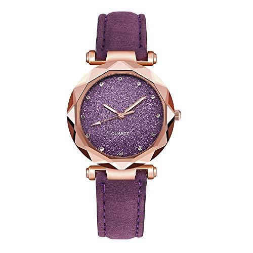PPangUDing Armbanduhr Damen Mode koreanischen Strass Rose Gold Quarzuhr Wasserdicht Lederband Wild weiblichen Gürtel Uhr für Mädchen Tägliche Abnutzung Schönes Geschenk (Lila)