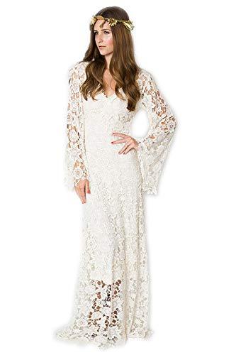 HYC Vintage-inspiriertes Bohemian-Hochzeitskleid mit Glockenärmeln Hippie-Hochzeitskleid Boho bestickt Maxi-Spitzenkleid Gr. 34, weiß