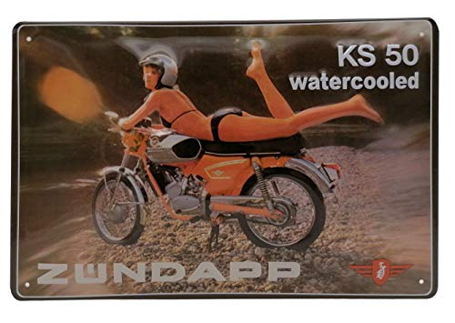 Zündapp KS 50 Motorrad mit Pinup Bikini Girl, hochwertig geprägtes Retro Werbeschild, Blechschild, Türschild, Wandschild, 30 x 20 cm