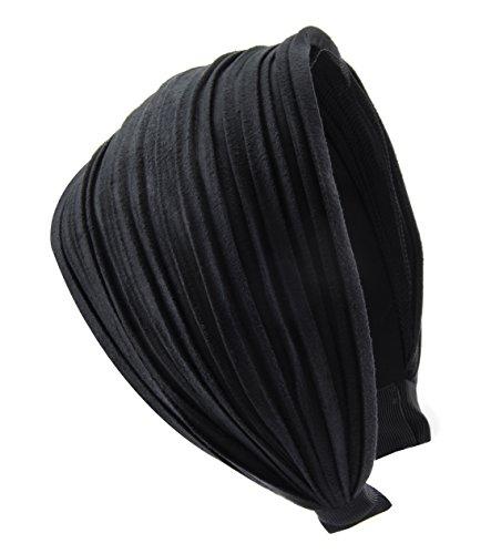 axy HR32 Haarreif Serie 32 Hair Band mit leichtem Flanell (Leder Optik) (Schwarz)