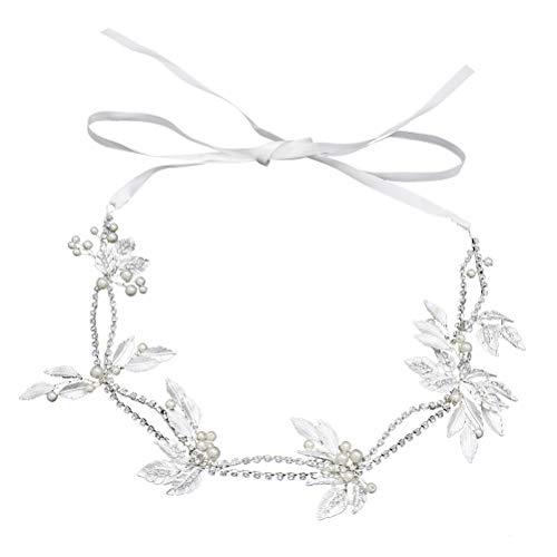 Lurrose Silber verlässt Stirnband Kristall Braut Hochzeit für Frauen