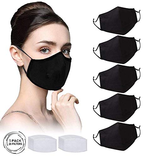 5Pcs Unisex Protective Adjustable and Reusable Dust Cotton Cover and 20Pcs Filters
