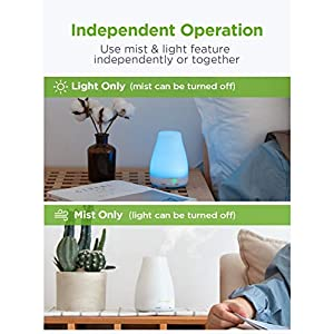 InnoGear Essential Oil Diffuser, Upgraded Diffusers for Essential Oils Aromatherapy Diffuser Cool Mist Humidifier with 7 Colors Lights 2 Mist Mode Waterless Auto Off for Home Office Room, Basic White