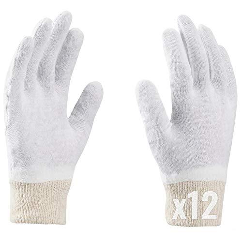 Guanti in cotone, SOFT, guanti morbidi, guanti medici, guanti cosmetici, bianchi, piacevoli e delicati per le mani (9 (12 paia), Bianco)