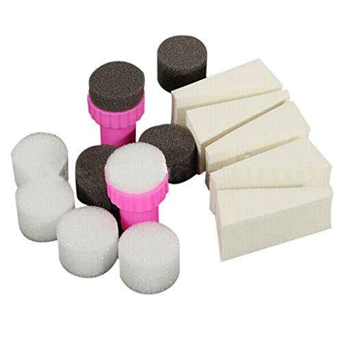Conijiwadi 15pcs / Set Nail Art Stamping Stamper éponge Shade transfert Tampon Outil bricolage Kit Accessoires Salon