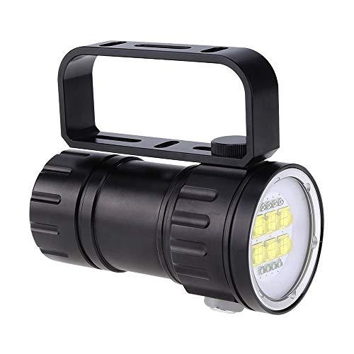 SDlamp Lámpara De Llenado De Fotografía De La Linterna LED De 28800 Lumens LED, Antorcha De 80 M Bajo El Agua, 3 Tipos De Luces Y 7 Modos, para Bajo El Agua, Camping, Senderismo