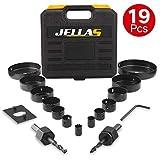 19Pcs Coronas Perforadoras -JELLAS 19-127mm Broca Corona Juego(Include 25 and 35mm) en Caja Rígida, Resistentes para Perforar de Forma Precisa en Madera Blanda, Tableros de PVC y Plástico