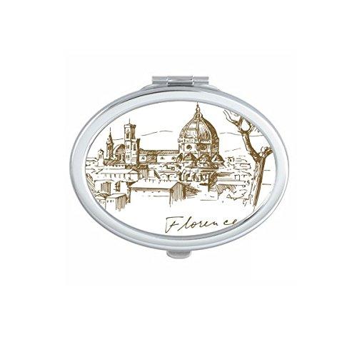 DIYthinker Florence Italie Cathédrale de Florence Haut-Lieu Touristique Motif Maquillage Ovale Miroir de Poche Compact Portable Mignon Petit Miroirs Main