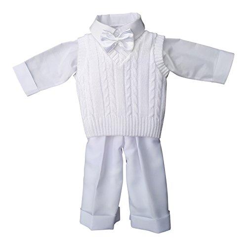 deine-Brautmode Taufanzug Festanzug Anzug Weste Hose Hemd Fliege Taufe Baby Set Adam Anzug,weiß, 68