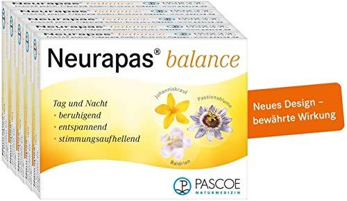 Pascoe® Neurapas balance: mit Johanniskraut, Passionsblume & Baldrian - stimmungsaufhellend, entspannend & beruhigend - bei leichten depressiven Verstimmungen - rein pflanzliche Wirkstoffe - 5x100 Tabletten