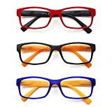 PANTONA Pack 3 Gafas de Lectura Modernas para Hombres y Mujeres, Gafas Presbicia Vista Cansada Montura Rectangular. Color: Negro Rojo Azul.+1.5